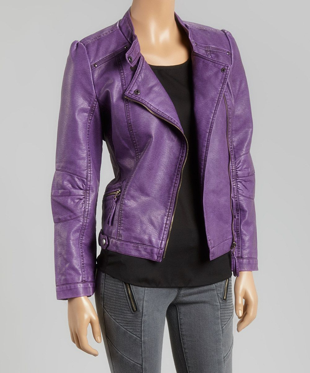 a10209159 Look at this PAPARAZZI Purple Faux Leather Moto Jacket on #zulily ...