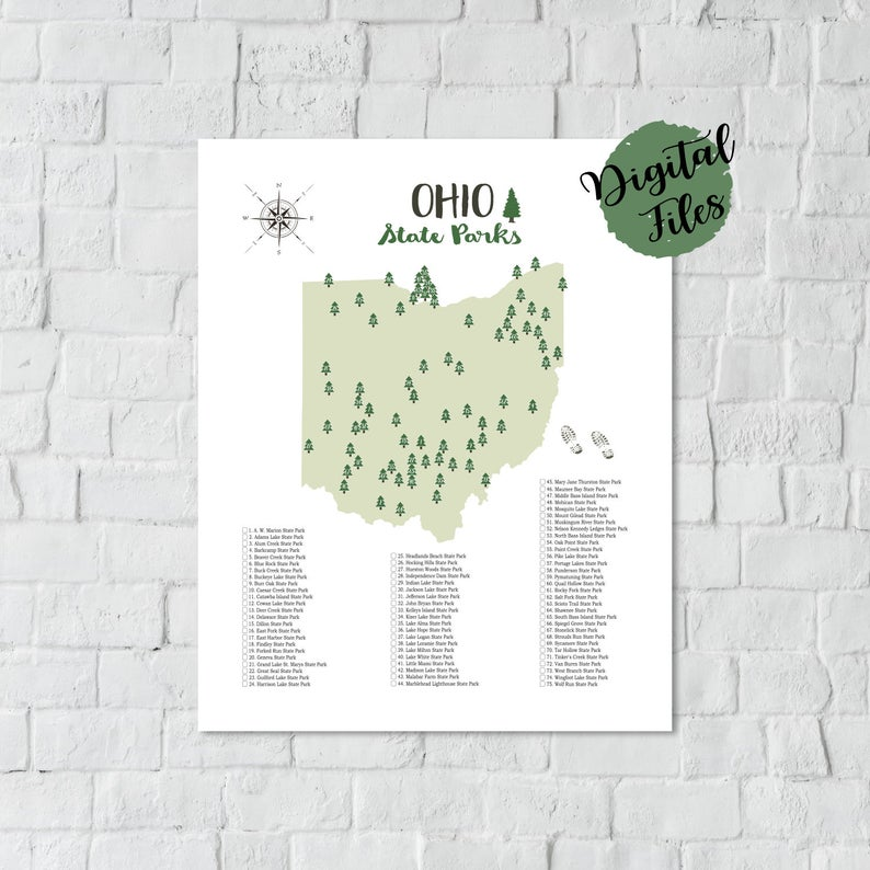 Map Of Ohio State Parks PRINTABLE Ohio State Parks Map State Parks Of Ohio Map Ohio Parks