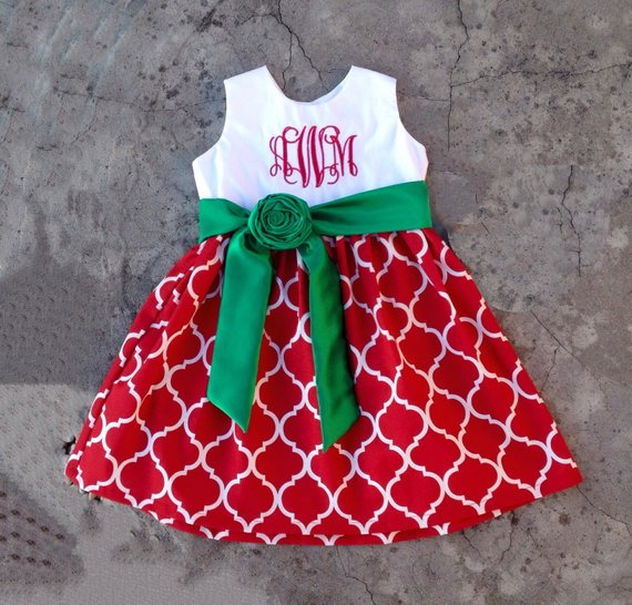 ed1503225 Girls christmas dress, baby girl christmas outfits, Red and green  quatrefoil dress, monogrammed baby