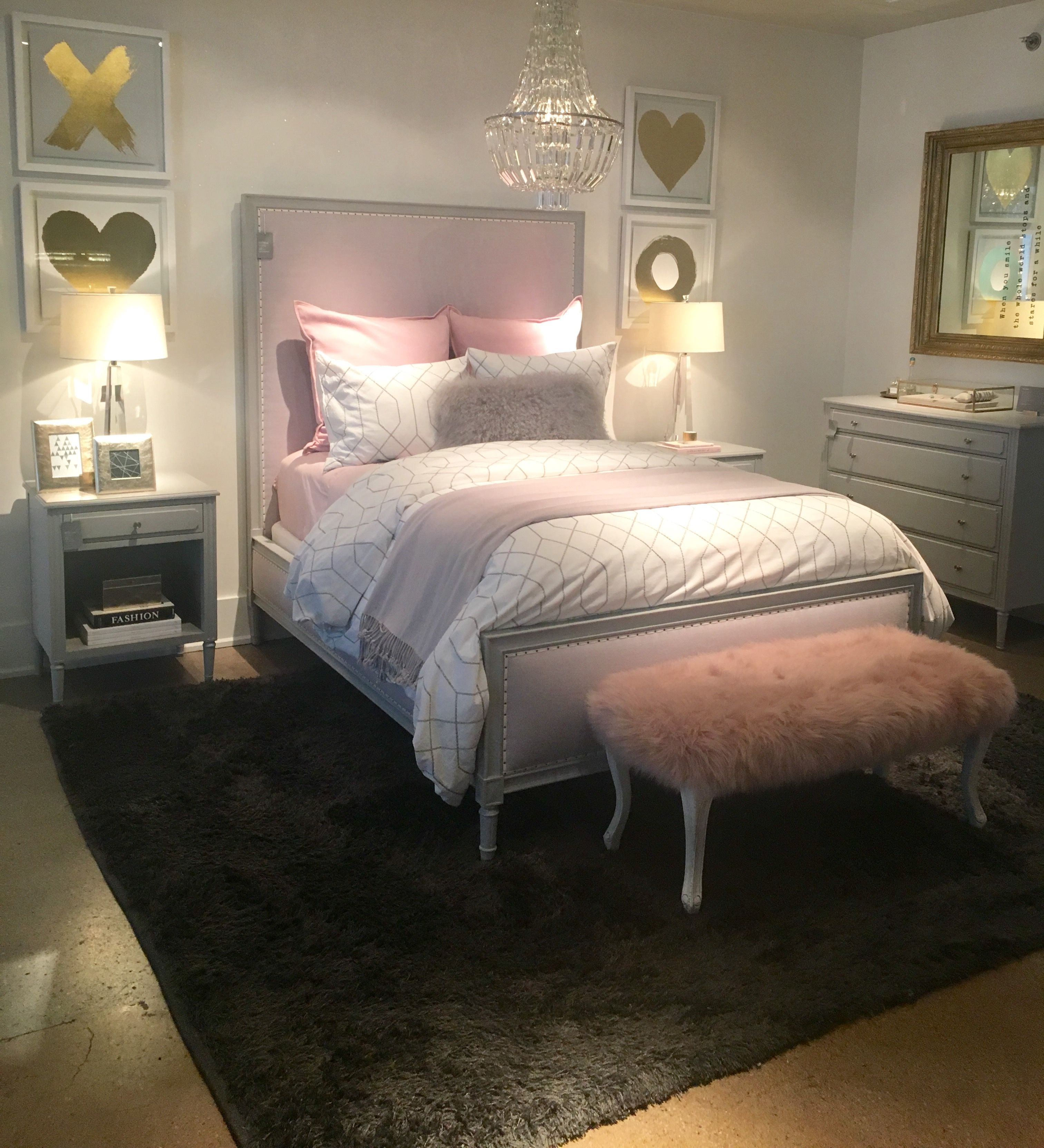 Xoxo RHteen pink faux fur bench crystal chandelier