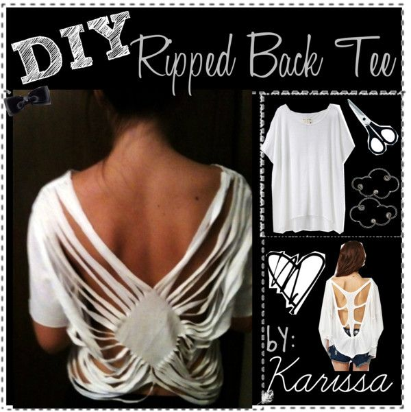 Diy ripped back tee shirt by the amazing tip chickas liked on diy diamond ripped tattered and torn back tshirt turn a regular tshirt into a cute cut up shirt to do it yourself solutioingenieria Gallery