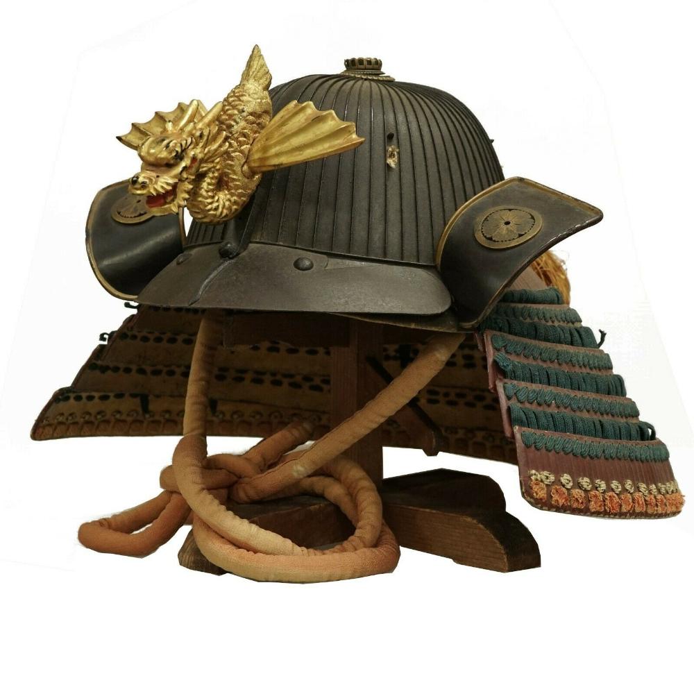 Edo Period Antique Samurai Helmet Tetsu Sabiji Rokujyu Niken Suji Kabuto Ebay Samurai Helmet Samurai Armor Helmet