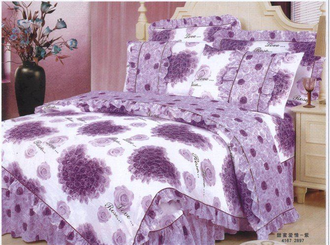 Purple Hearts And Roses 100 Cotton Purple Heart Shaped Rose Flower Floral Pattern Printed Comforter Sets Comforters Floral Prints Pattern