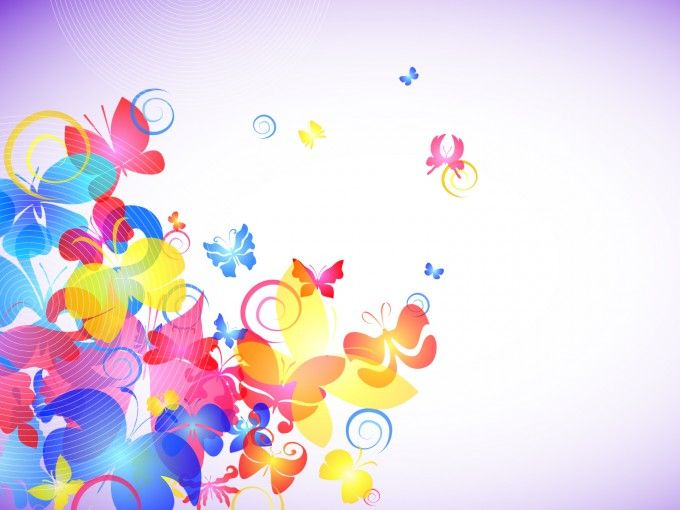 Abstract Colorful Butterflies Ppt Templates Meee