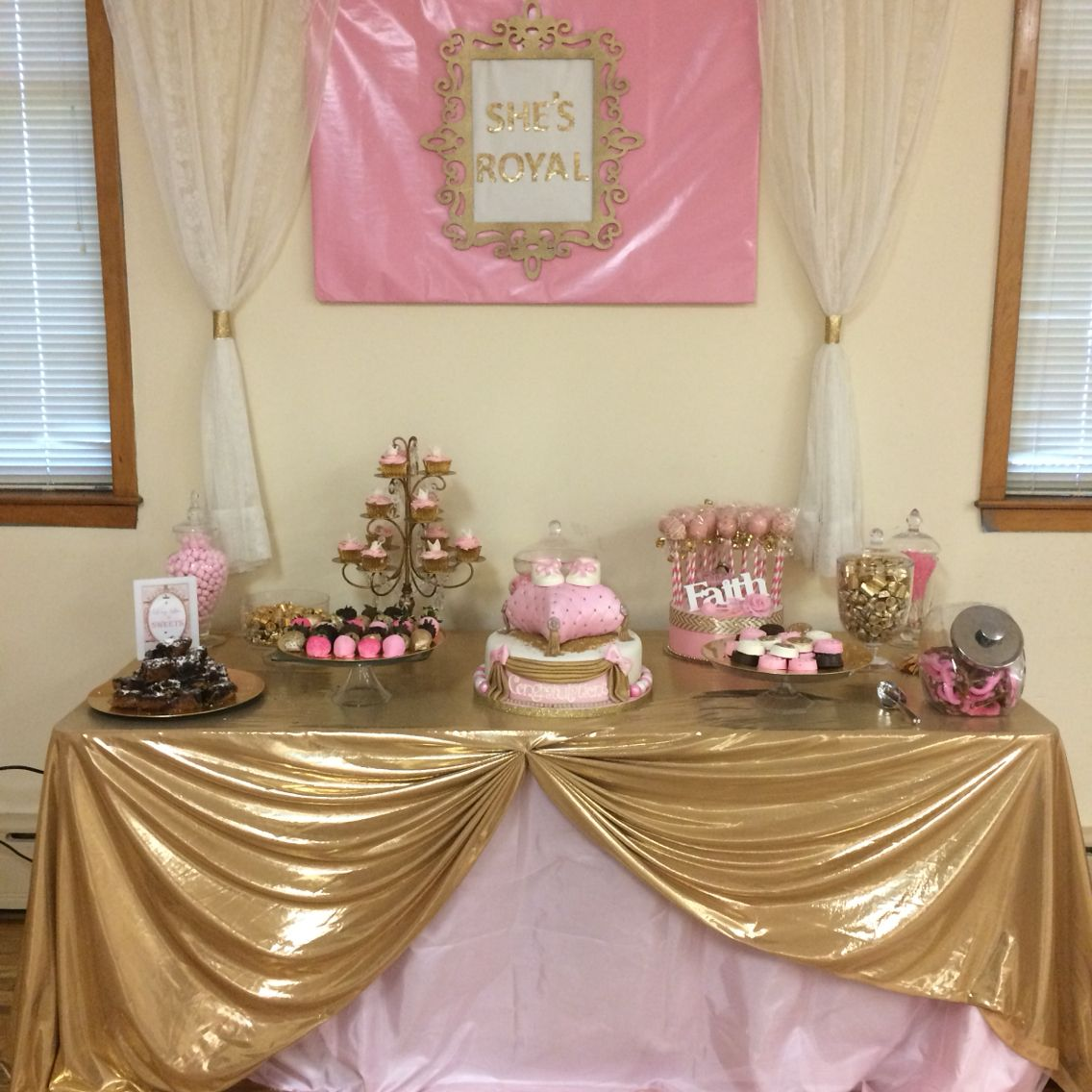 Pink And Gold Royal Baby Shower Desert Table Candy Buffet