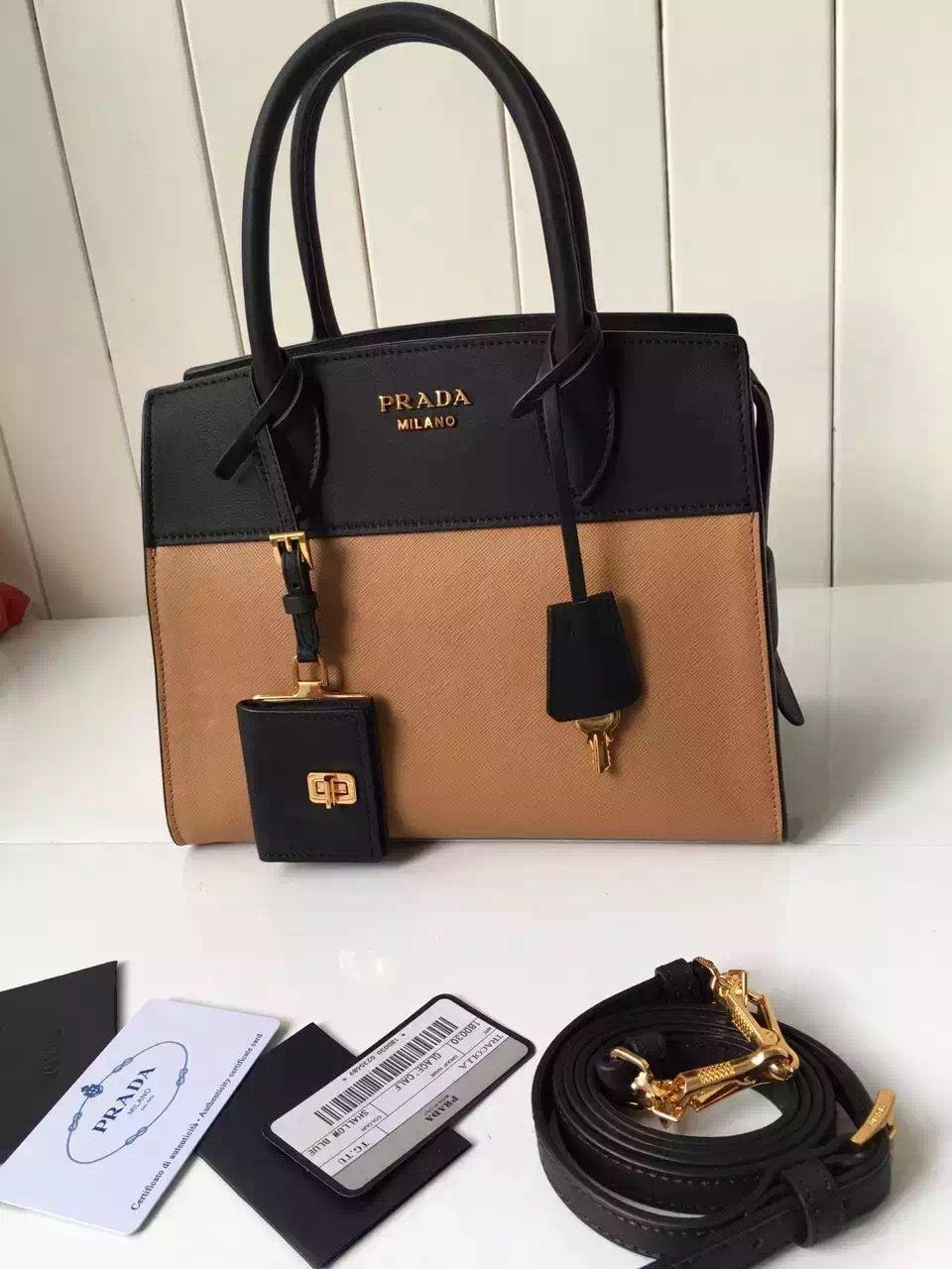 5b35534297 Prada Small Esplanade Saffiano and Calf Leather Bag Camel Black 2016 ...