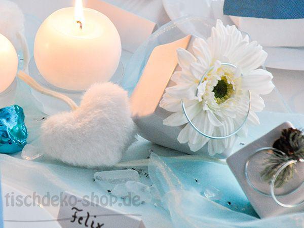 tischdekoration winter in t rkis und wei dekoartikel winter und weihnachten pinterest. Black Bedroom Furniture Sets. Home Design Ideas