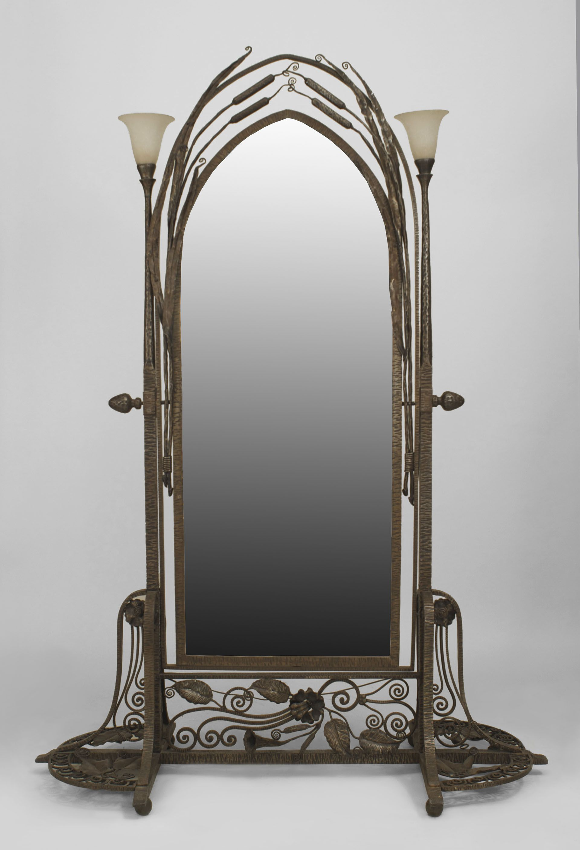 French Art Deco Wrought Iron Cheval Mirror With Arch Design Beveled Gl Surrounded By Cattails