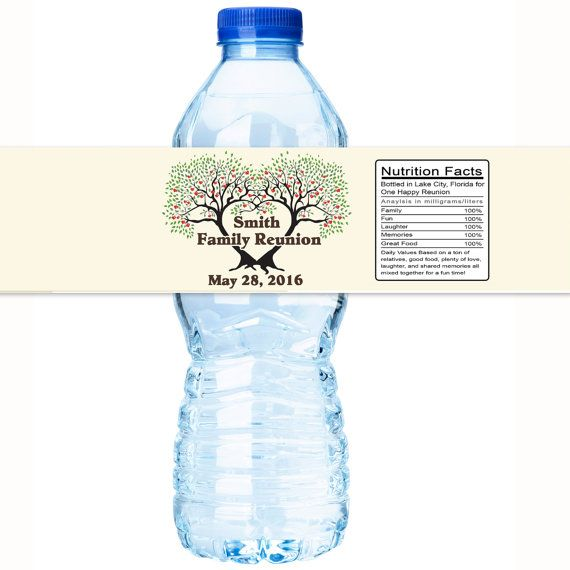 Vines Panel Family Reunion Water Bottle Labels We offer Three label
