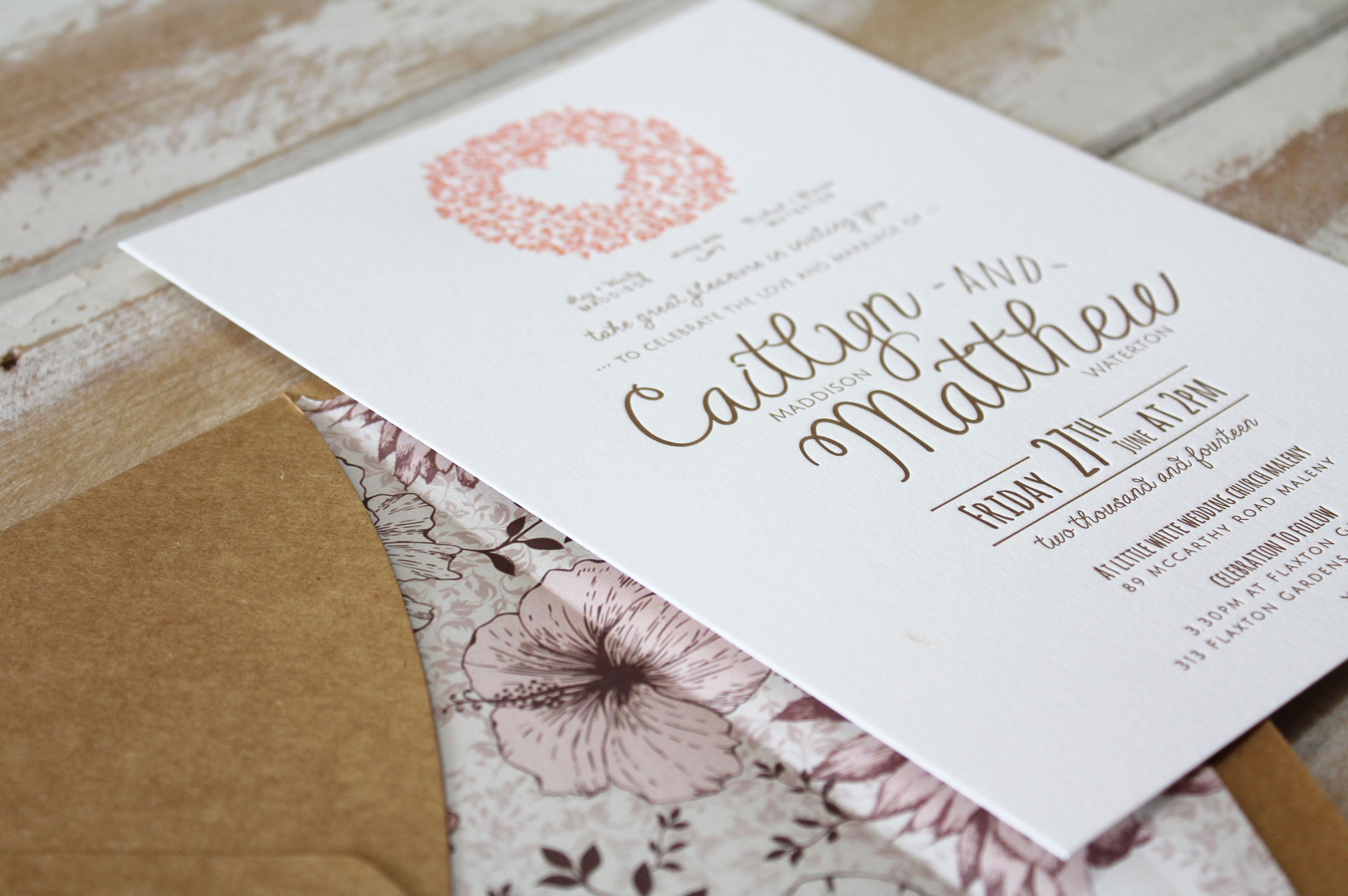 Love Tree Design - verko type and flat printed wedding invitation ...