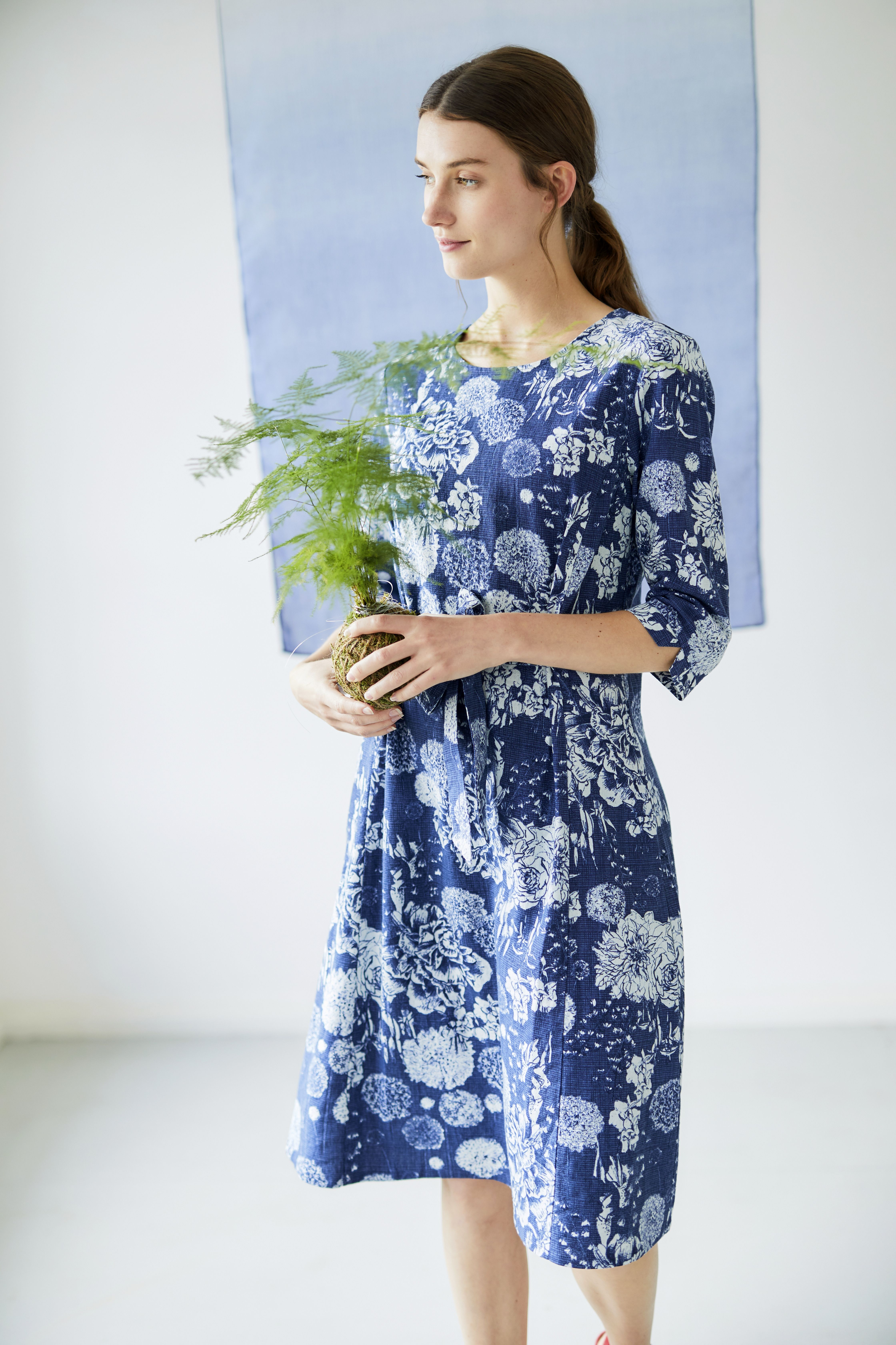 d503656a1f367 In a breathable hemp blend, this floral knee length dress features an  exclusive print inspired by model, artist and photographer, Lee Miller.