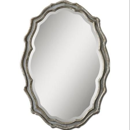 36 Antique Silver Leaf Slate Blue Scalloped Framed Beveled Oval