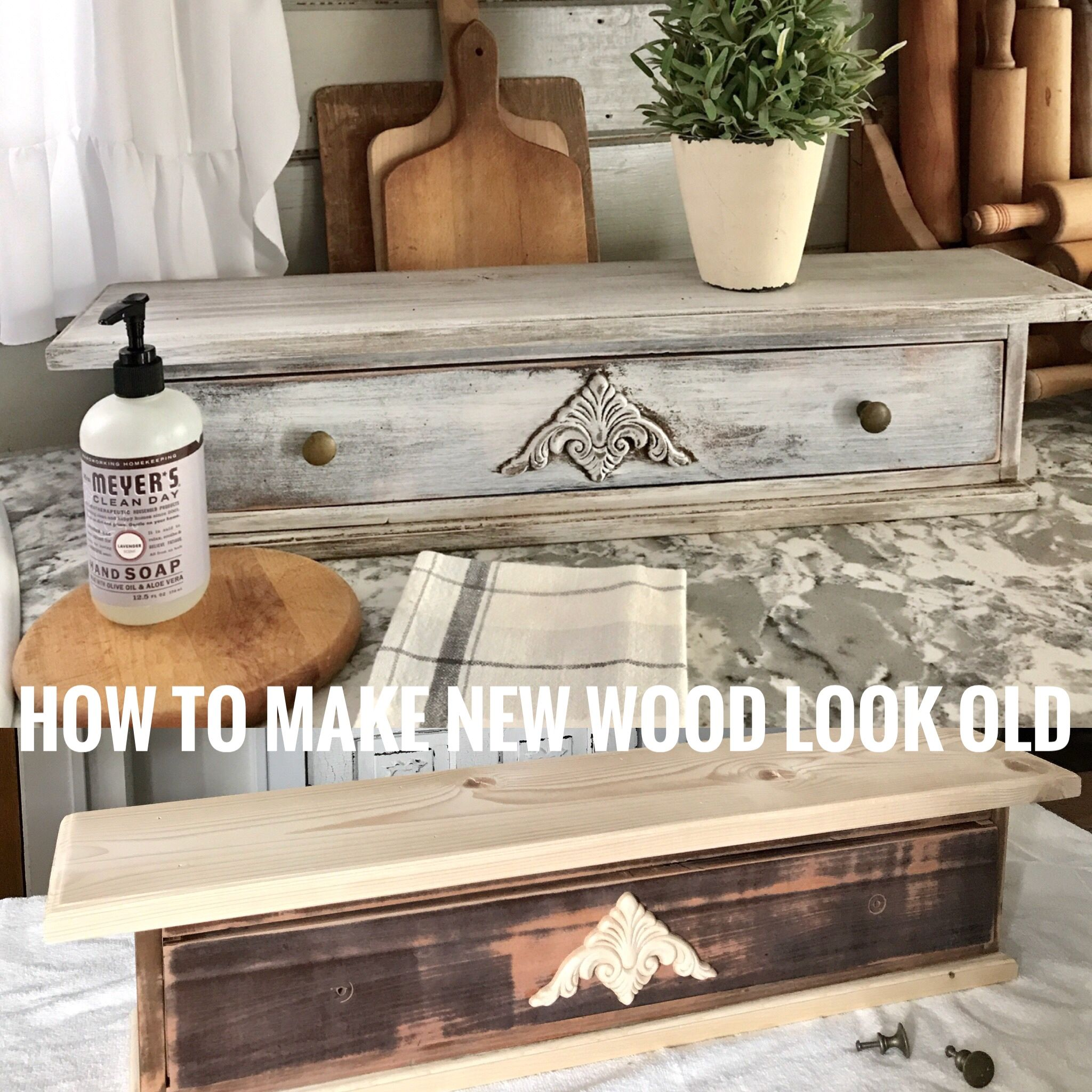 How to make new wood look old using paint and stain the house on