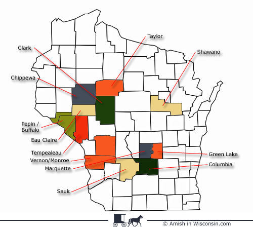 Wisconsin County Map | Amish love | Wisconsin, Wisconsin dells