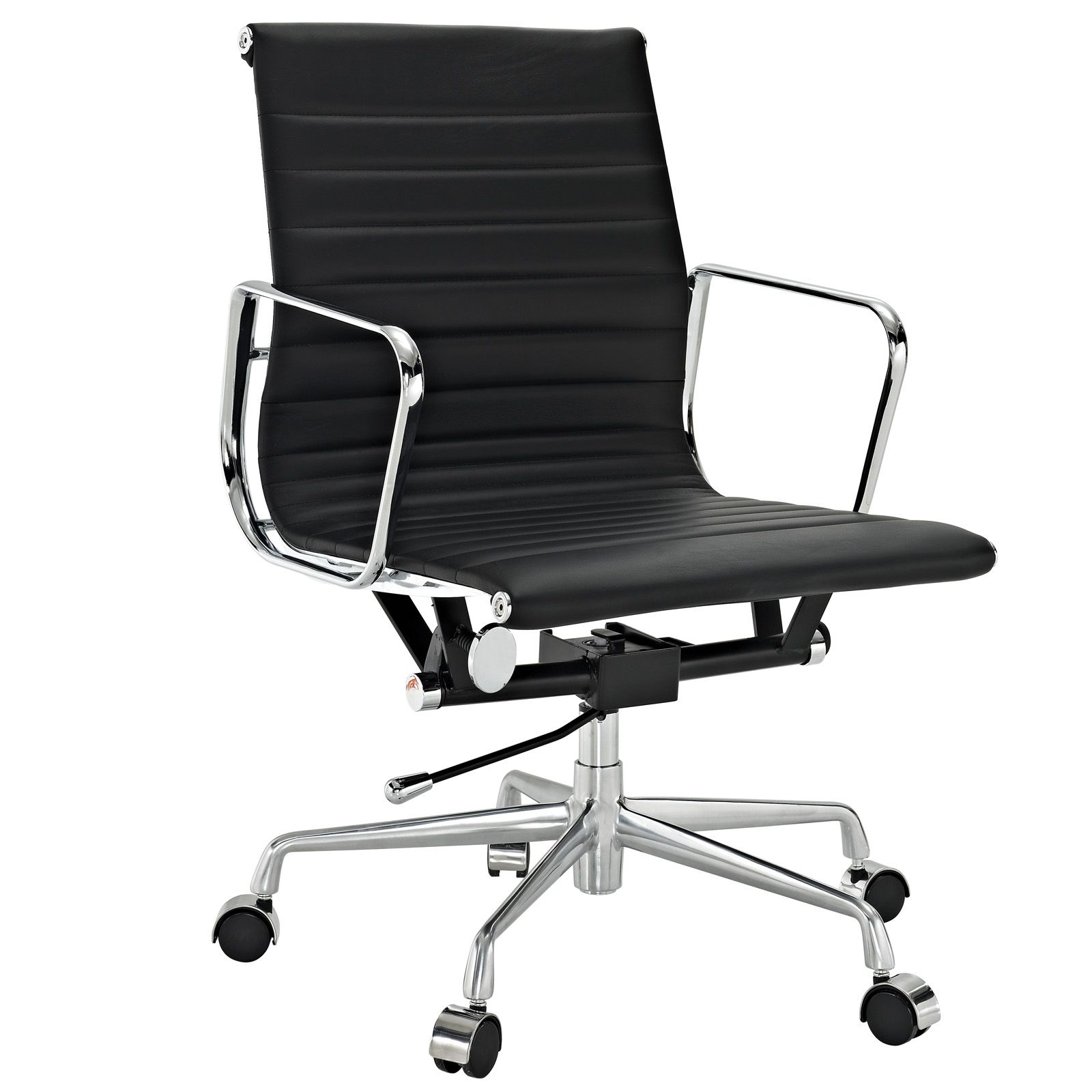 office chair genuine leather white. LexMod Ribbed Mid Back Office Chair In Terracotta Genuine Leather White