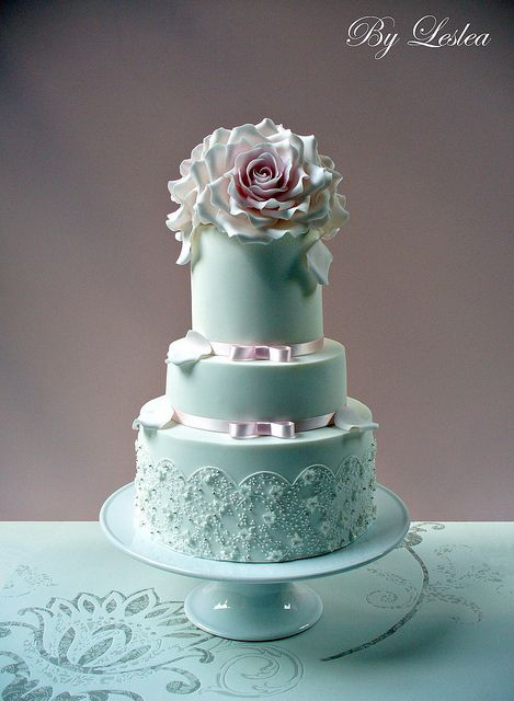 Piped Lace and Pink Roses