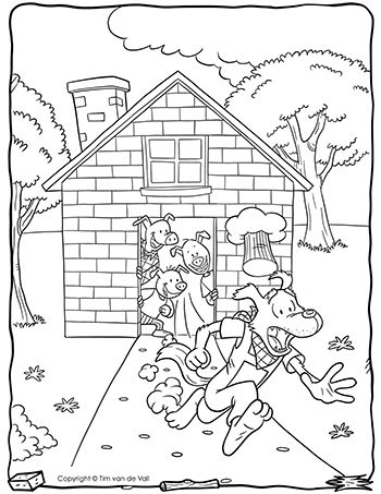 Three Little Pigs Wolf Running Coloring Page Crafts