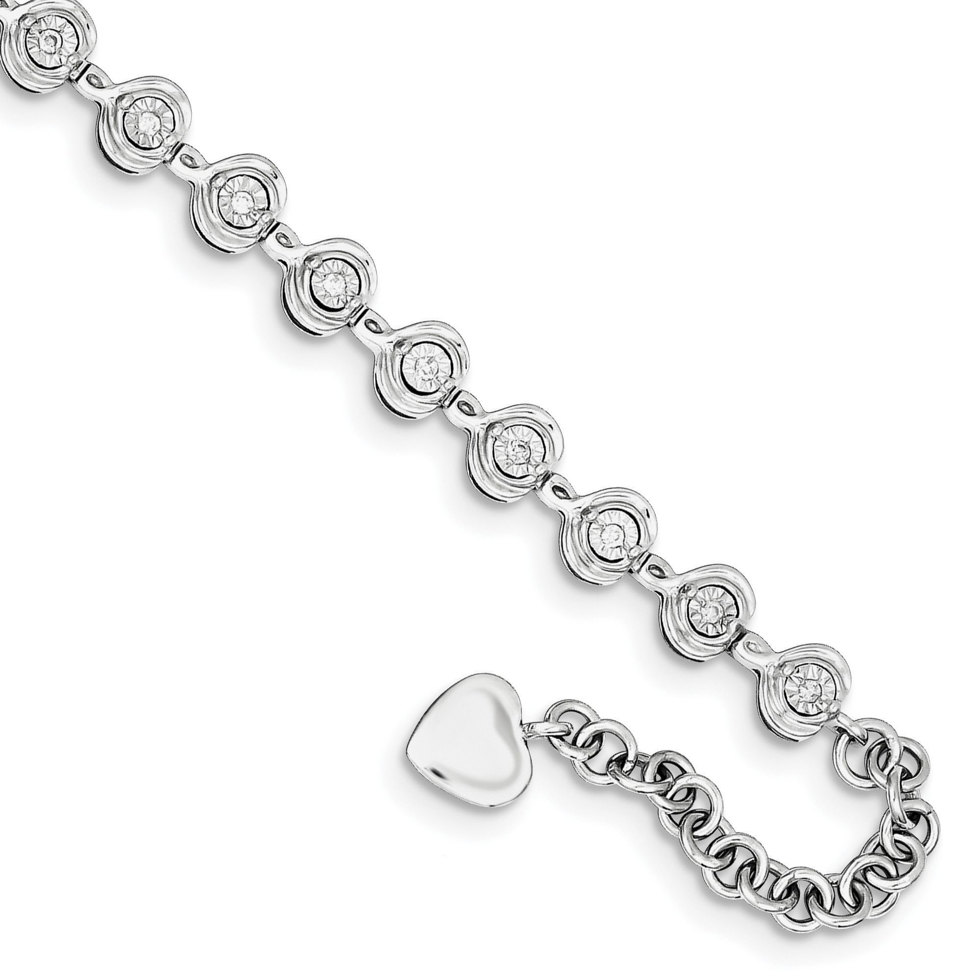 Sterling Silver Rhodium Plated Diamond Heart Charm 1.5in ext. Bracelet QDX1000