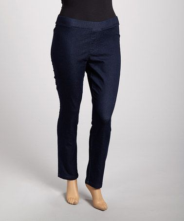 d6ed84d21c2ee Take a look at this Dark Wash Strectchy-Chic Denim Leggings - Plus by Per  Se on  zulily today!