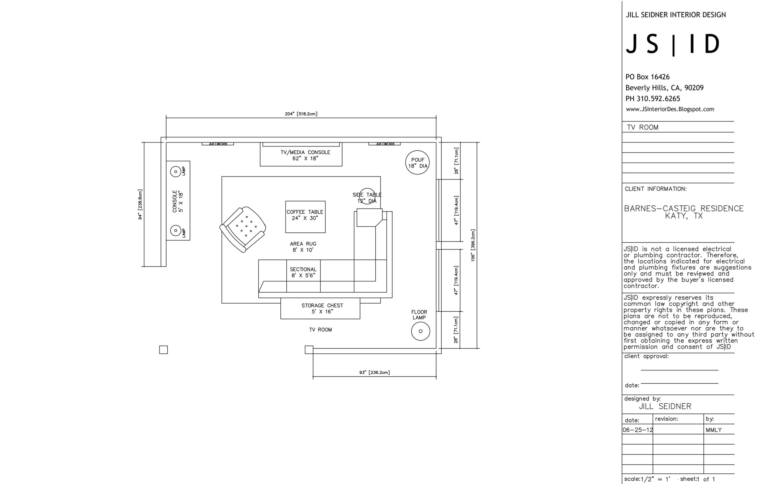 Katy TX Online Design Project TV Room Furniture Floor Plan Layout Option 2