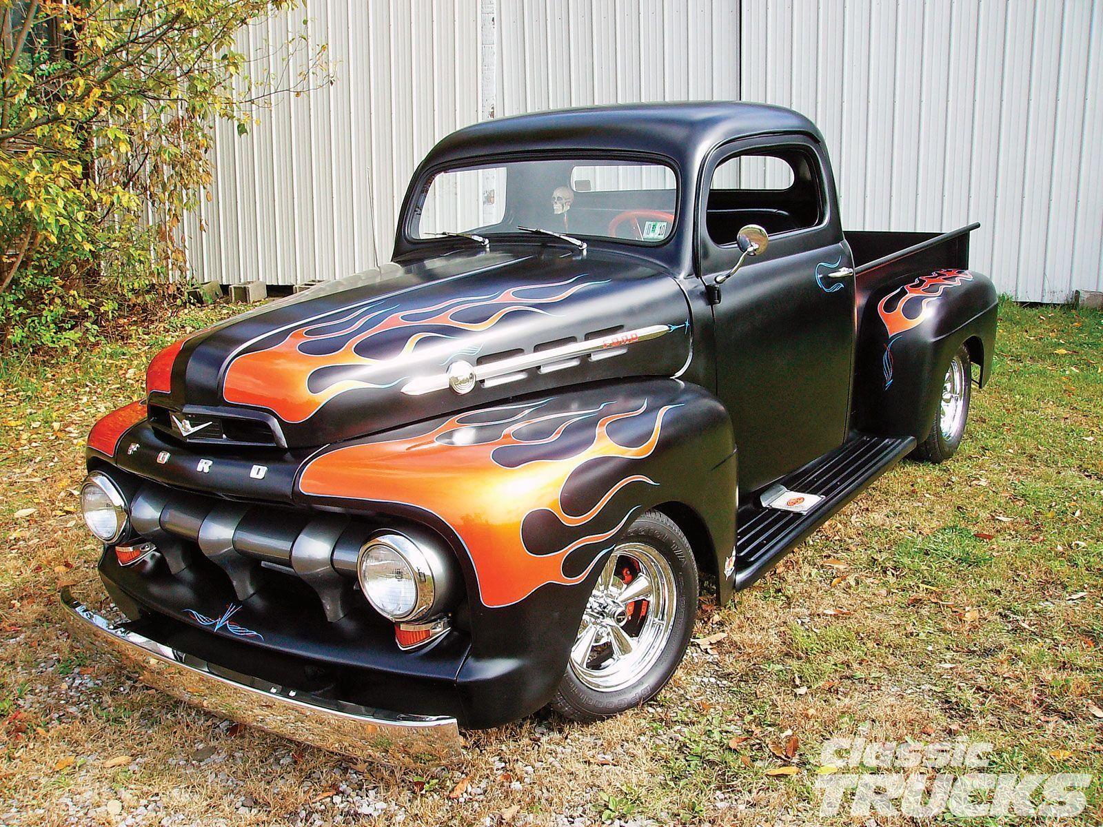 1952 Ford F1 Pickup Hotrod Streetrod Hot Rod Hot Rod Street Flamed Usa 1600x1200 01 Wallpaper 1600x1200 Classic Cars Trucks Old Ford Trucks Classic Trucks
