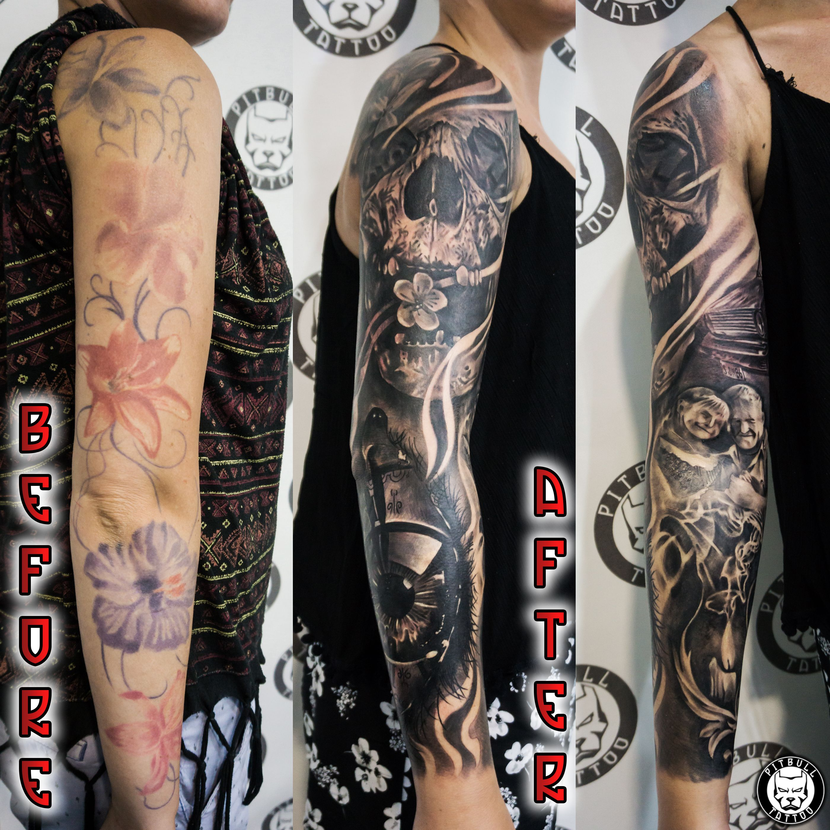 7637415ba2d38 PATONG TATTOO STUDIO Cover up arm sleeve Tattoo, Black and Grey. Pitbull Tattoo  Patong Beach - Best Tattoo shop in Thailand CONTACT US ...