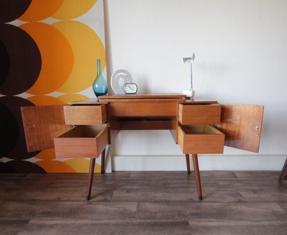 1950s hallway ideas  Vintage us  s Retro Hall Table Desk with  Drawers  House