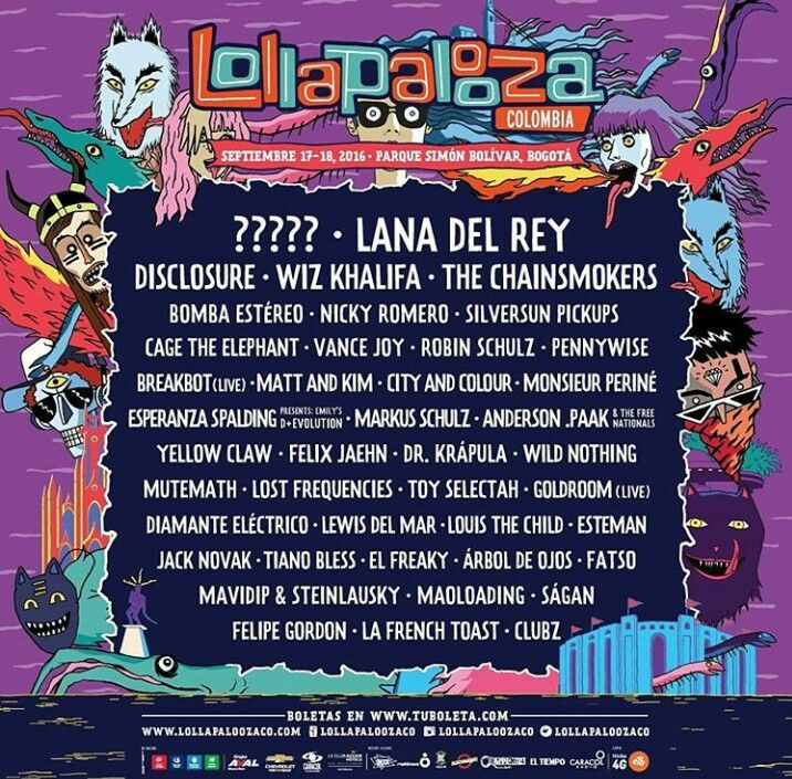 Line up for the first ever #Lollapalooza festival in Columbia September 2016