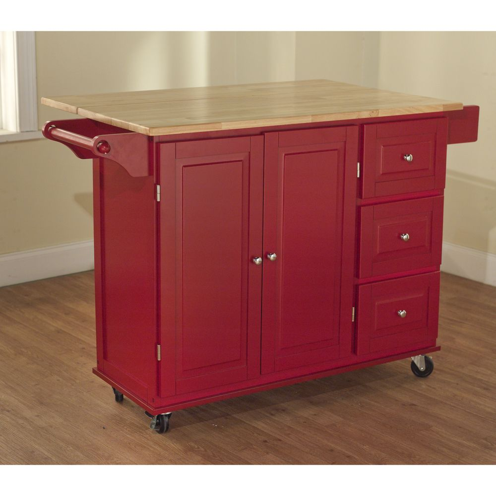 Overstock Kitchen Island Simple Living Aspen Red/ Natural Three-drawer Cart | Home