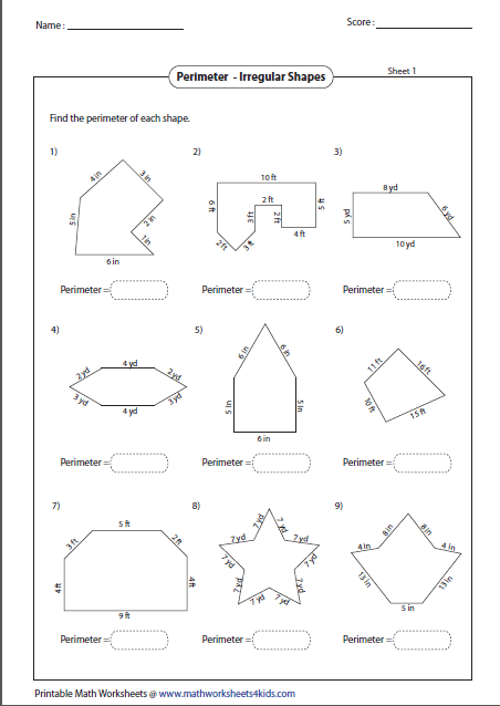 Perimeter Of Irregular Shapes Perimeter Worksheets Perimeter Of Shapes Area And Perimeter