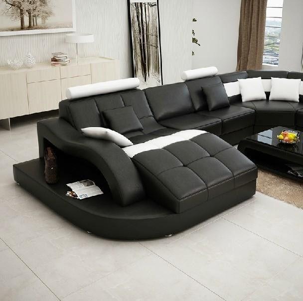 Moderna Black And White Bonded Leather Sectional Sofa Furniture Home Leather Sectional Sofas