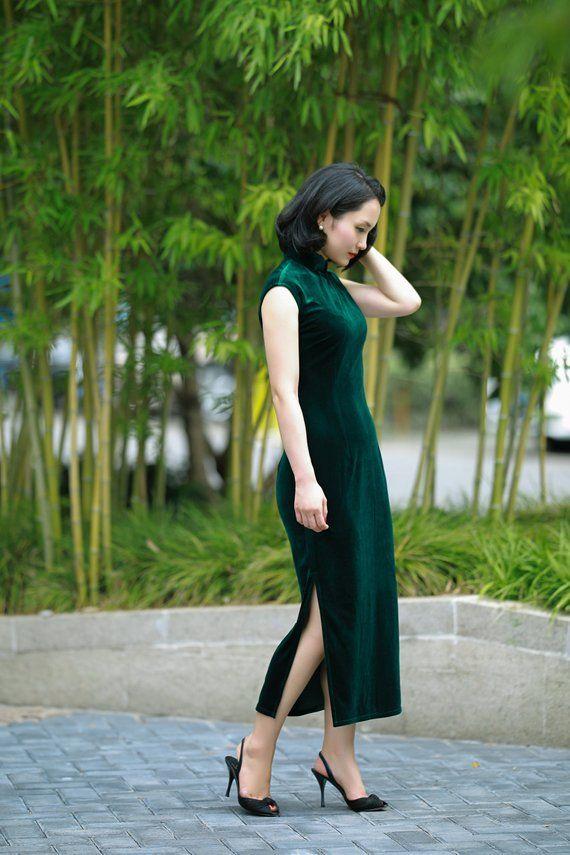 a8fb8fbe2 Customizable modern velvet cheongsam   Contemporary qipao   Chinese dress    Forest green velvet dres