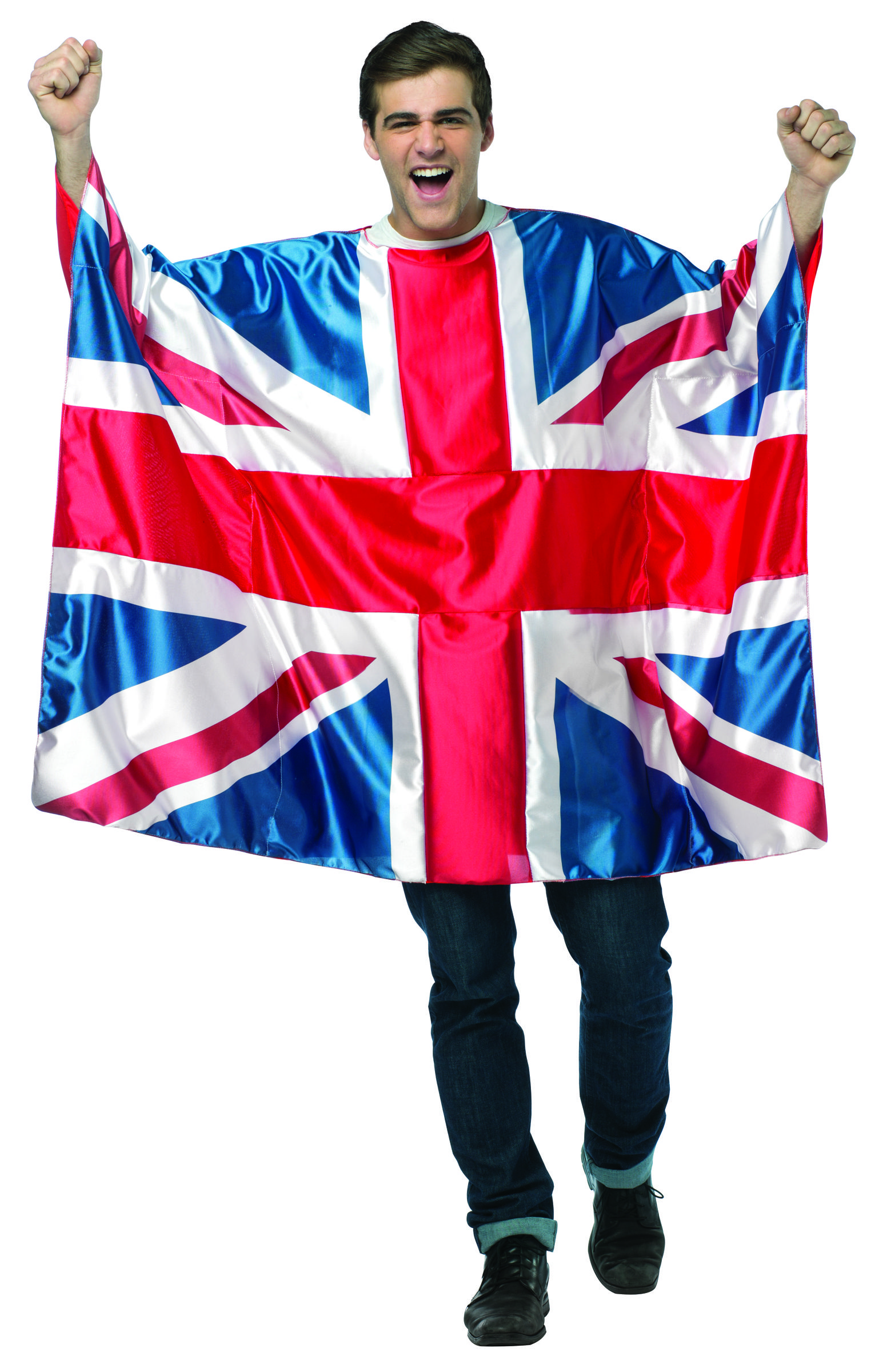 #1986 Flag Tunic- UK - Show your pride, support, and love of country in your very own Flag tunic.  Generously cut to fit most, cheer on the National team, wear in parades, or even get spotted at the next World event!  Polyester.  One Size. #UKFlag #UK #flag #festival #parade #halloween #funfestival