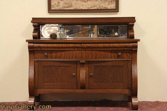 Oak Antique 1900 Sideboard Console, Mirror Gallery - Harp Gallery Antique  Furniture - Oak Antique 1900 Sideboard Console, Mirror Gallery - Harp Gallery