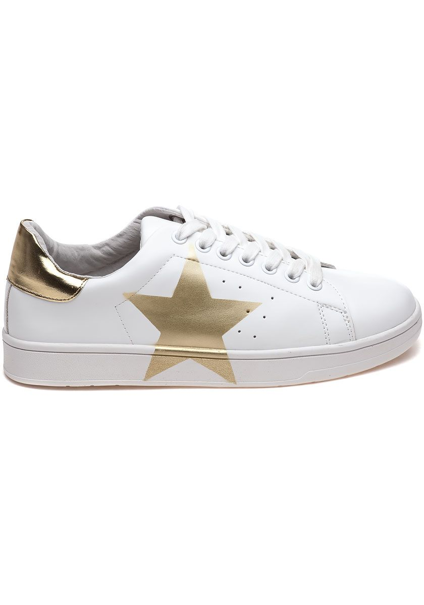 Steve Madden Rayner White And Gold Star Sneaker - Jildor Shoes, Since 1949