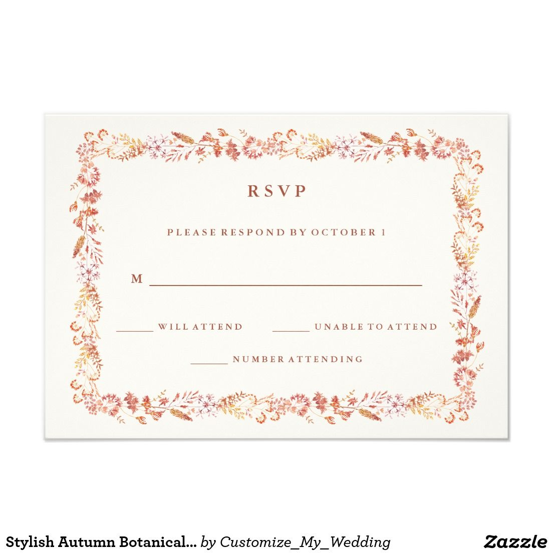 Stylish Autumn Botanicals RSVP