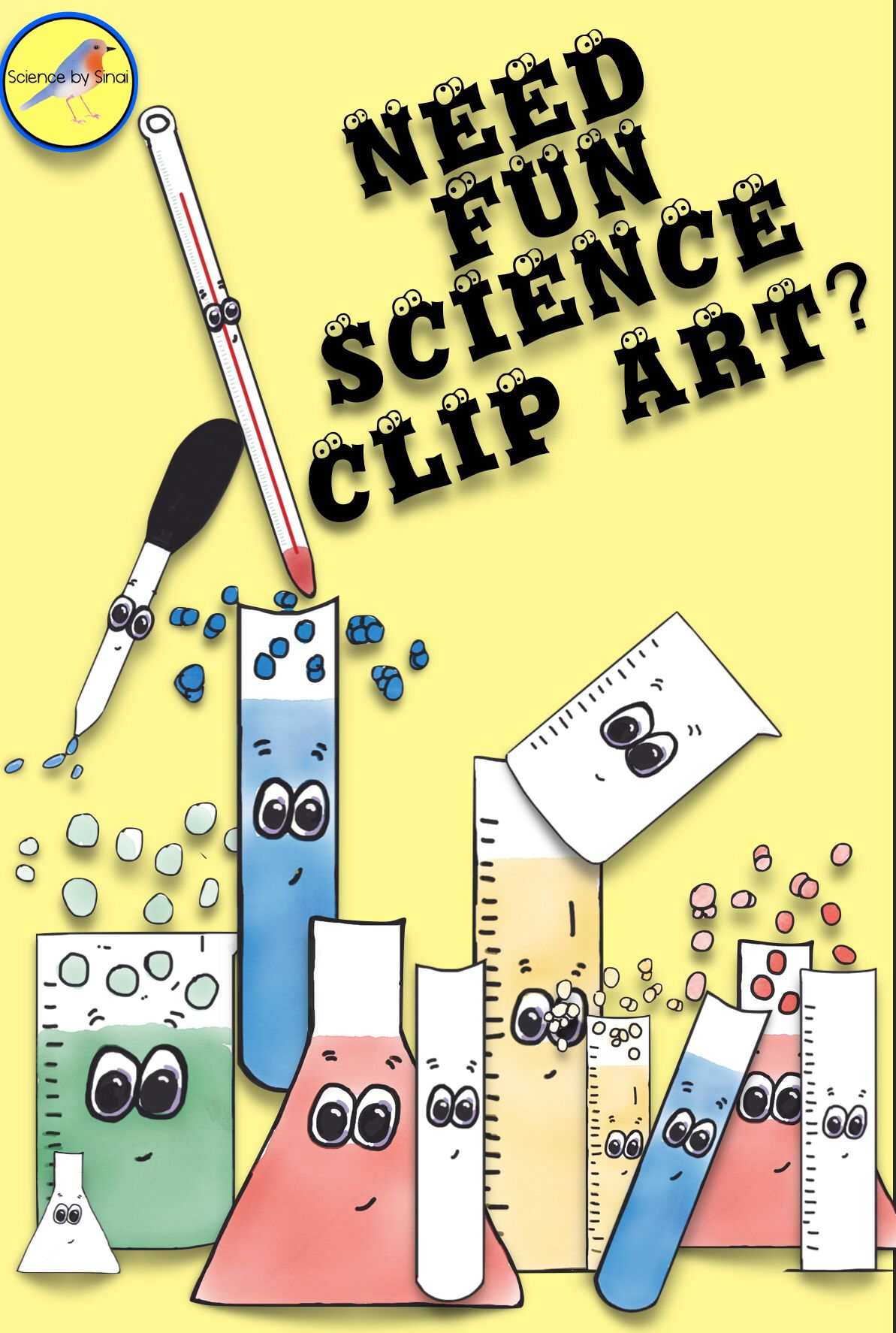 Fun Whimsical Science Lab Equipment Clipart Glassware