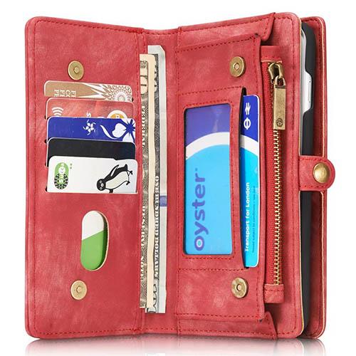 CaseMe iPhone 8 Plus Zipper Wallet Detachable 2 in 1 Case Red