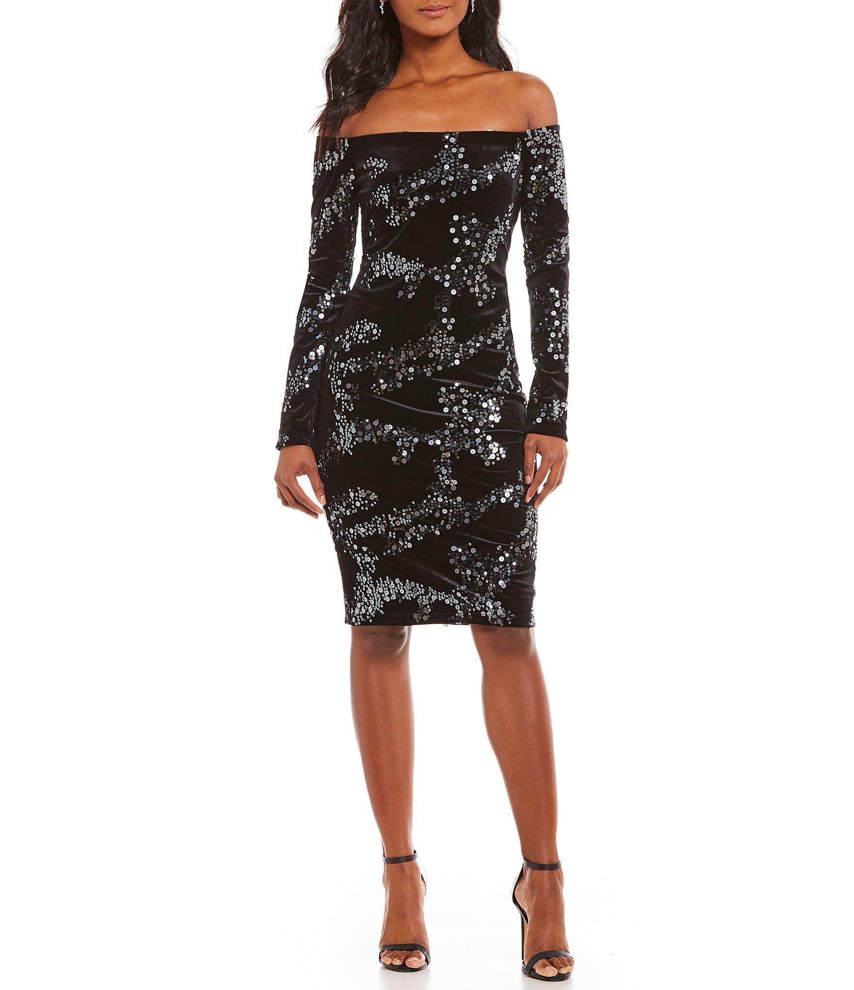 Eliza J Off-the-Shoulder Sequin Velvet Dress | Dillards, Sequins and ...
