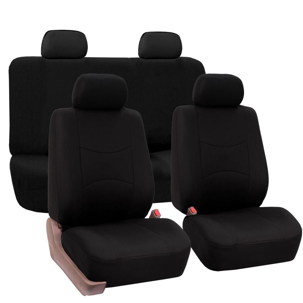 FH Group Flat Cloth 43 in. x 23 in. x 1 in. Full Set Seat Covers-DMFB050BLK114 - The Home Depot