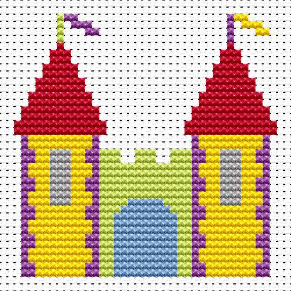 Sew Simple Castle cross stitch kit [SS-CS] Finished size approx 8.5cm x 8.5cm. Kit contains 11ct white aida fabric, stranded embroidery cotton, needle, colour chart and instructions. A brand new kit will be sent directly to you by Fat Cat Cross Stitch - usually within 2-4 working days © Fat Cat Cross Stitch