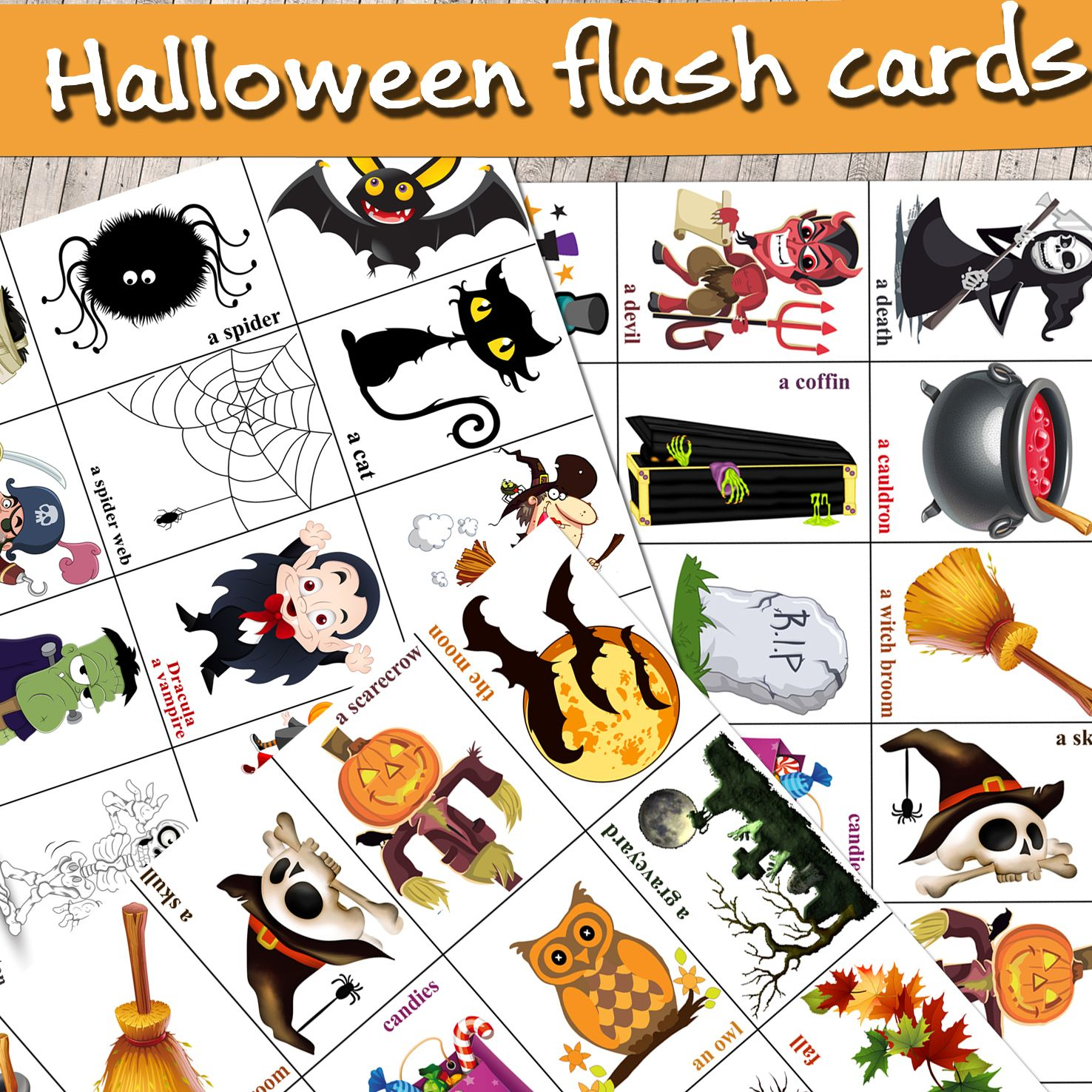 There Are 36 Halloween Flashcards The File Includes High