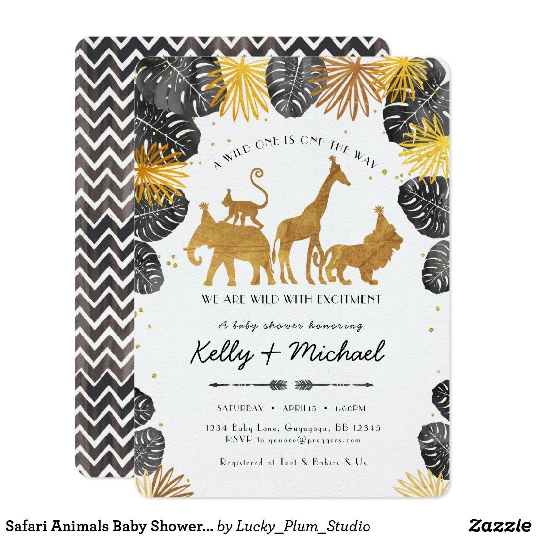 Safari Animals Baby Shower Invitation | Shower invitations, Baby ...