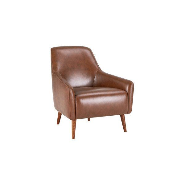 Larson Accent Chair In Tan Leather In 2020 Wing Chair Tan