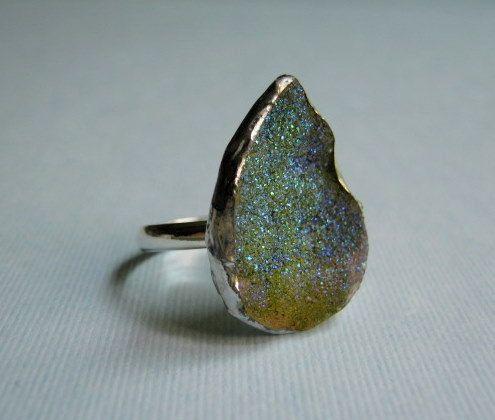 Blue Green Titanium Treated Adjustable Ring $22.00