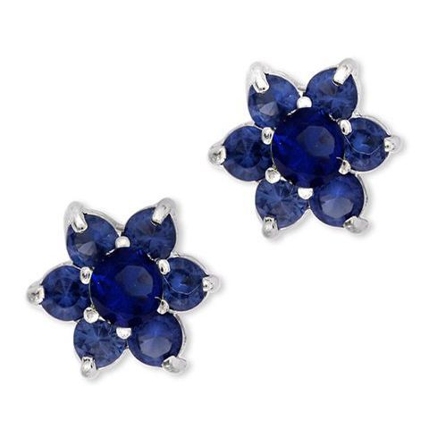 9e9afa2a6 Collette Z Sterling Silver Cubic Zirconia Stud Earrings With Floral Theme (CZ  Earrings), Women's, Size: Medium, Blue