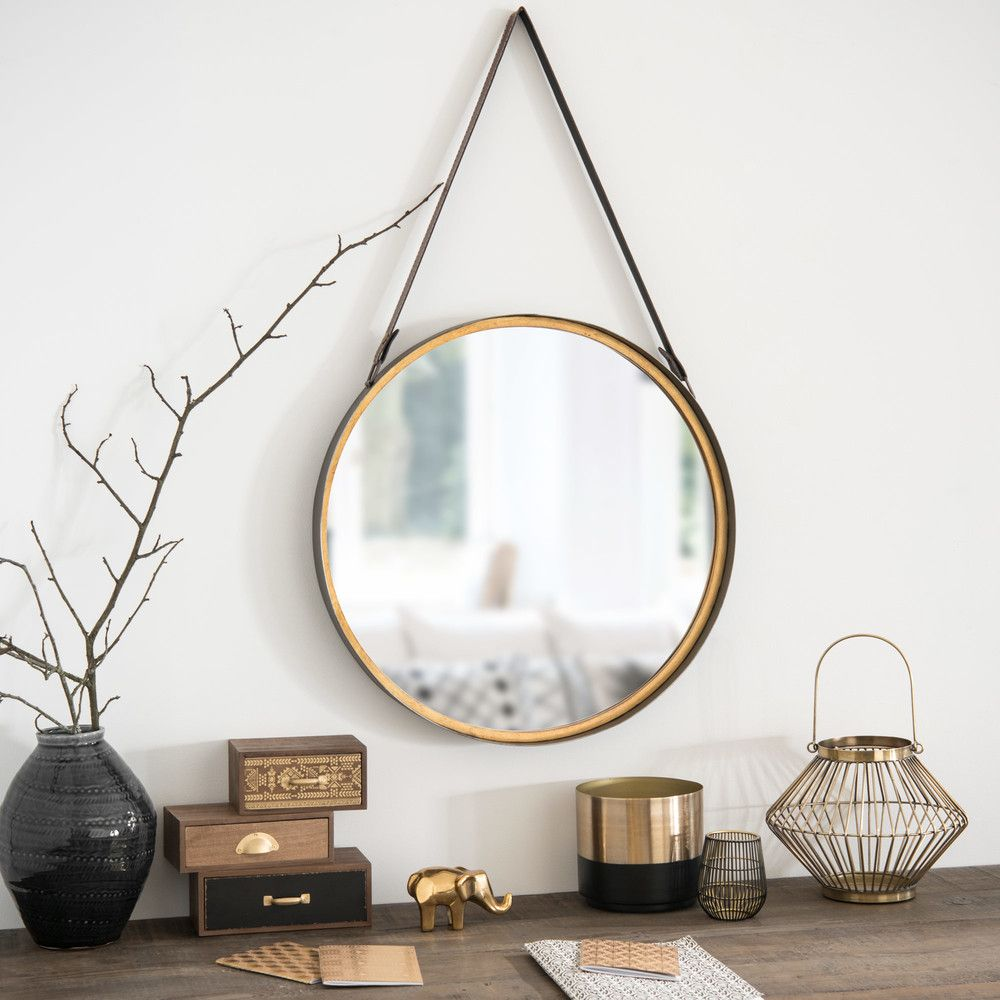 miroir rond suspendre en m tal effet laiton d52. Black Bedroom Furniture Sets. Home Design Ideas