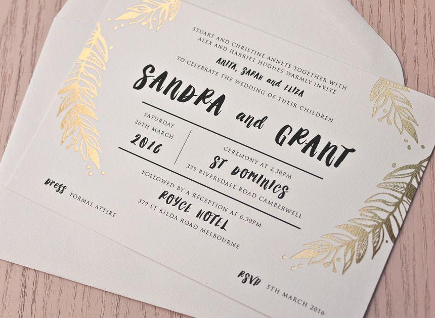 Foliage - Gold Foil Wedding Invitation | Papermarc Melbourne ...