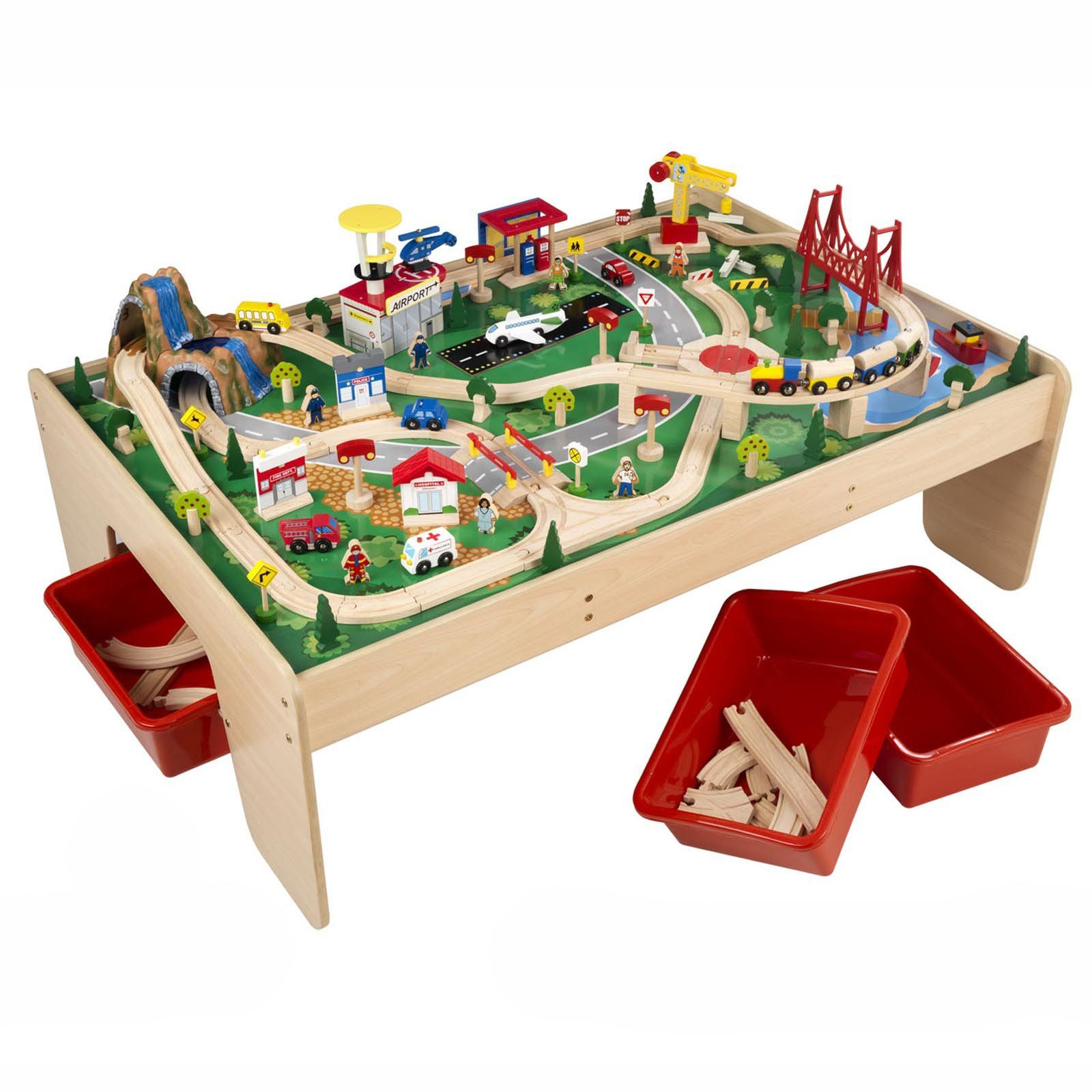 KidKraft Waterfall Mountain Train Table And Train Set   17850   About This Train  Table The