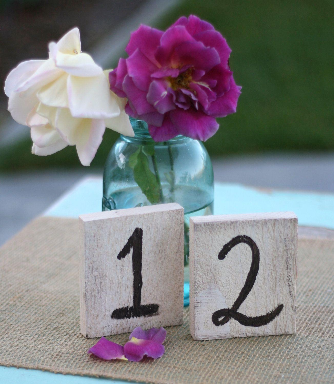 Rustic Table Numbers Shabby Chic Wedding (item P10122). $45.00, via Etsy.